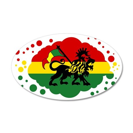 Rasta Lion of Jah 35x21 Oval Wall Decal