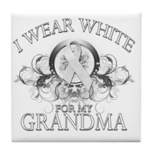 I Wear White for my Grandma (floral) Tile Coaster