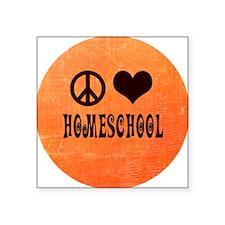 """Peace Love Homeschool Orang Square Sticker 3"""" x 3"""""""