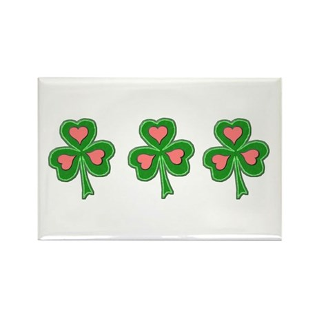 Three Shamrocks Pink Heart Rectangle Magnet (10 pa