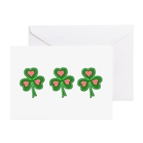 Three Shamrocks Pink Heart Greeting Cards (Package