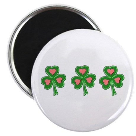 Three Shamrocks Pink Heart Magnet