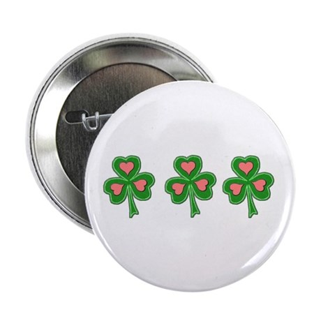 "Three Shamrocks Pink Heart 2.25"" Button (10 pack)"