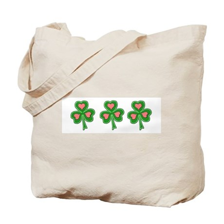 Three Shamrocks Pink Heart Tote Bag