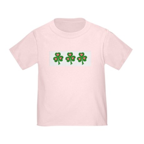 Three Shamrocks Pink Heart Toddler T-Shirt