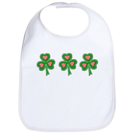Three Shamrocks Pink Heart Bib