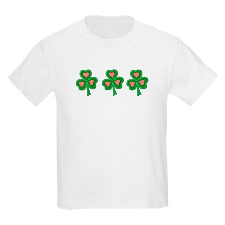 Three Shamrocks Pink Heart Kids T-Shirt