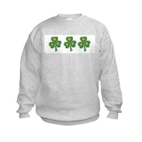 Three Shamrocks Pink Heart Kids Sweatshirt