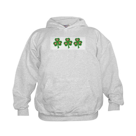 Three Shamrocks Pink Heart Kids Hoodie