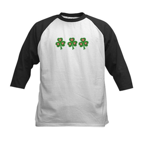 Three Shamrocks Pink Heart Kids Baseball Jersey
