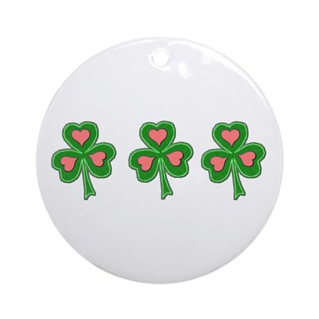 Three Shamrocks Pink Heart Ornament (Round)