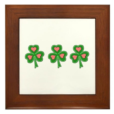 Three Shamrocks Pink Heart Framed Tile