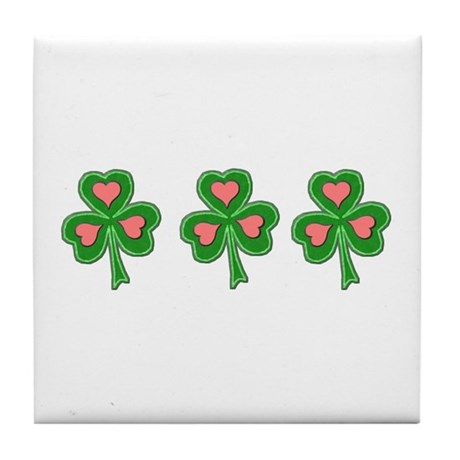 Three Shamrocks Pink Heart Tile Coaster