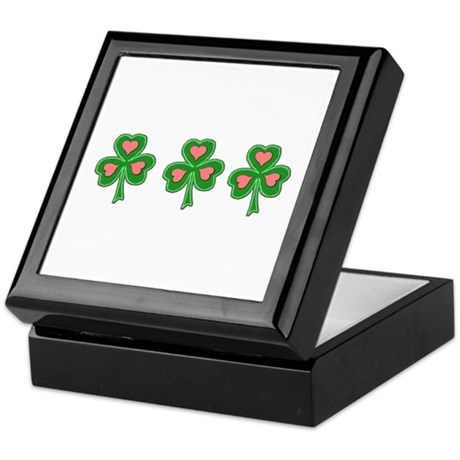 Three Shamrocks Pink Heart Keepsake Box