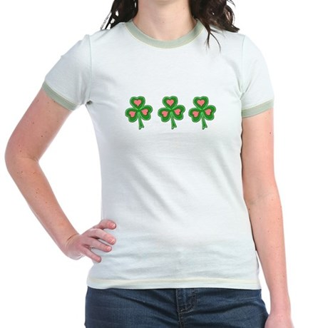 Three Shamrocks Pink Heart Jr. Ringer T-Shirt