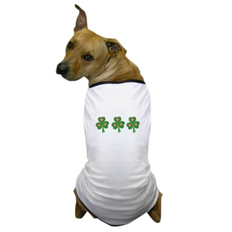 Three Shamrocks Pink Heart Dog T-Shirt