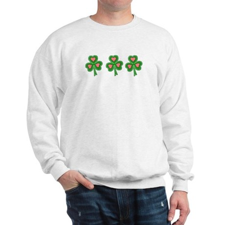 Three Shamrocks Pink Heart Sweatshirt