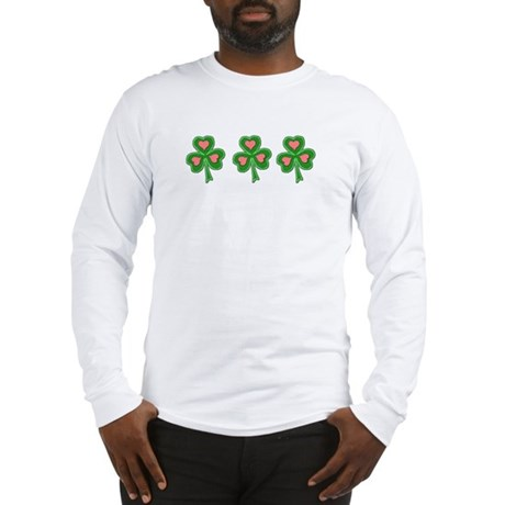 Three Shamrocks Pink Heart Long Sleeve T-Shirt