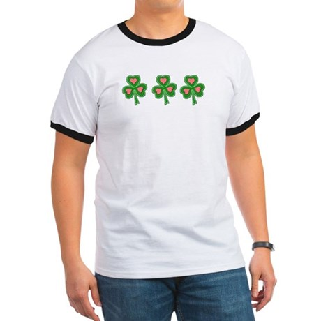 Three Shamrocks Pink Heart Ringer T