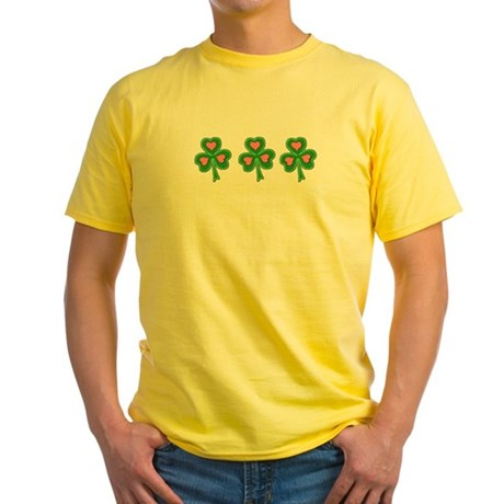 Three Shamrocks Pink Heart Yellow T-Shirt