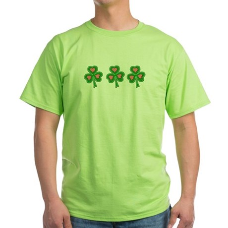 Three Shamrocks Pink Heart Green T-Shirt