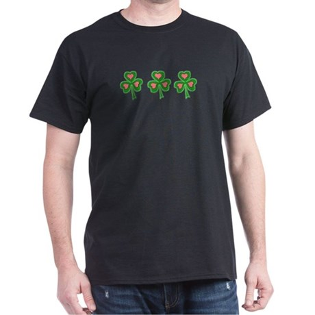 Three Shamrocks Pink Heart Dark T-Shirt