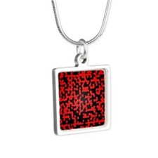 Pixels Silver Square Necklace