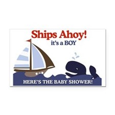 Ships Ahoy Nautical Baby Show Rectangle Car Magnet