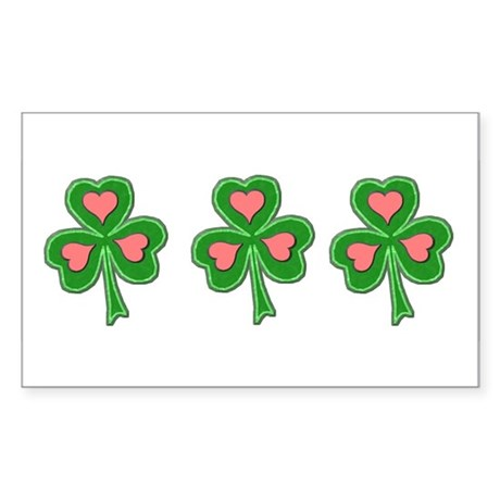 Three Shamrocks Pink Heart Rectangle Sticker