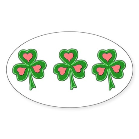 Three Shamrocks Pink Heart Oval Sticker