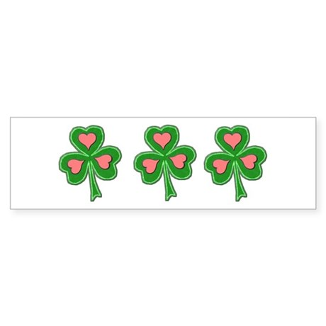 Three Shamrocks Pink Heart Bumper Sticker