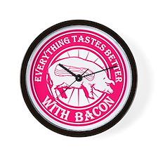 Pig Black Leg Black Burst- Pink Wall Clock