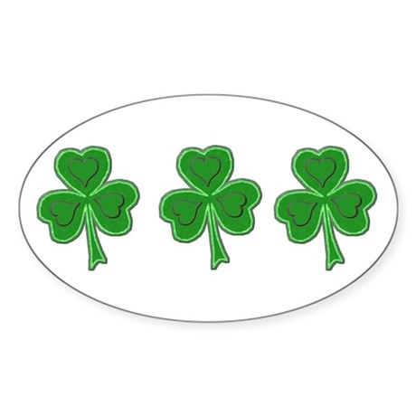 Triple Shamrock (Green) Oval Sticker