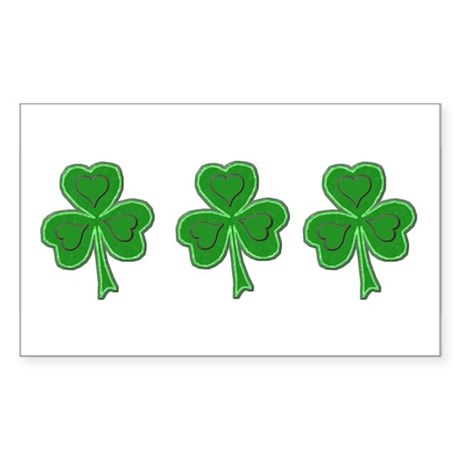 Triple Shamrock (Green) Rectangle Sticker