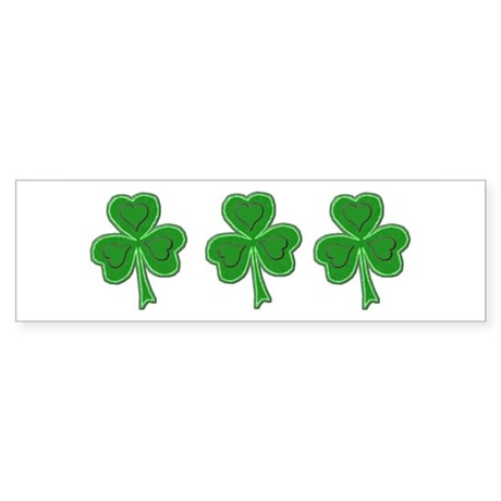 Triple Shamrock (Green) Bumper Sticker