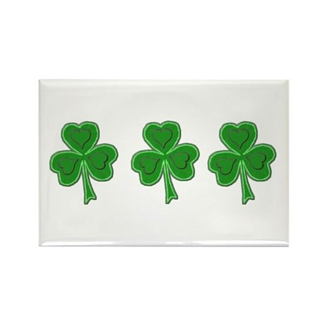 Triple Shamrock (Green) Rectangle Magnet (10 pack)
