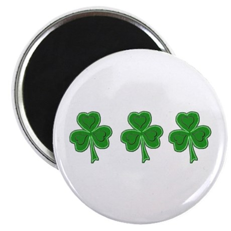 "Triple Shamrock (Green) 2.25"" Magnet (10 pack)"