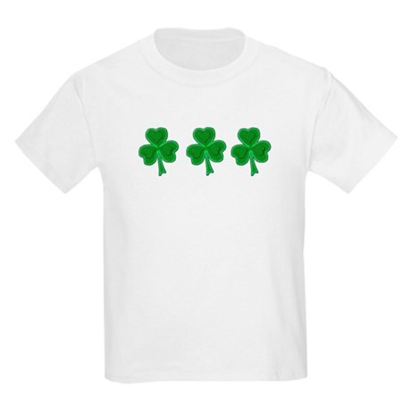 Triple Shamrock (Green) Kids T-Shirt