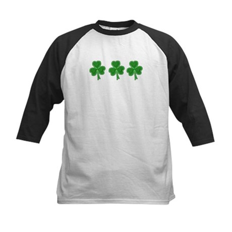 Triple Shamrock (Green) Kids Baseball Jersey