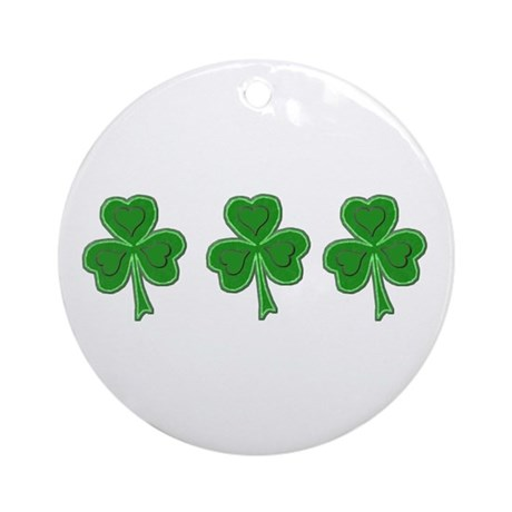 Triple Shamrock (Green) Ornament (Round)