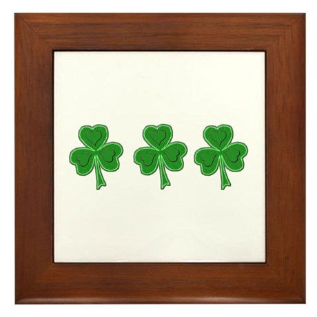 Triple Shamrock (Green) Framed Tile