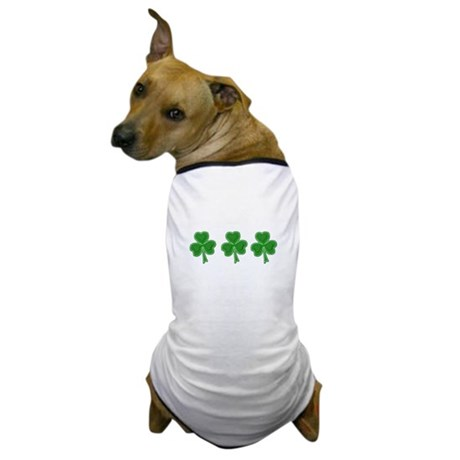 Triple Shamrock (Green) Dog T-Shirt