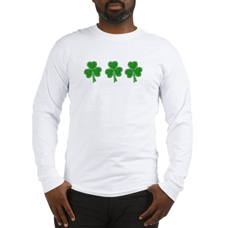 Triple Shamrock (Green) Long Sleeve T-Shirt