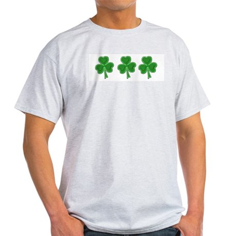 Triple Shamrock (Green) Ash Grey T-Shirt
