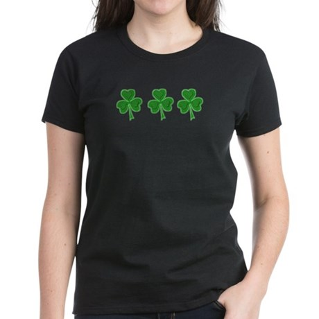 Triple Shamrock (Green) Women's Dark T-Shirt