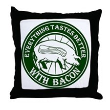 Pig Black Leg Black Burst- Green Throw Pillow
