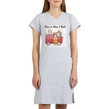 firefighter girl this is how I  Women's Nightshirt