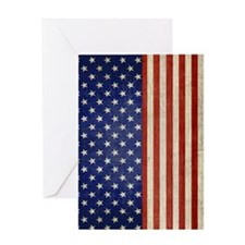 flip_flops_antique_american_flag Greeting Card