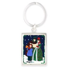 Dickensian Carolers Greeting Car Portrait Keychain