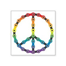 "peace chain vivid Square Sticker 3"" x 3"""